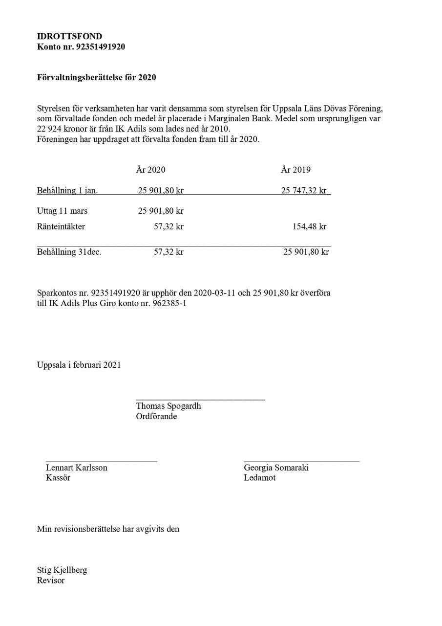 Idrottsfond förvaltningsberättelse 2020