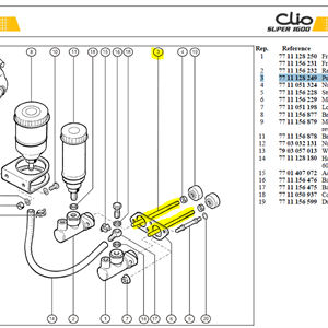 TIGE M.C.M8X125 - Push rod-M/Cyl