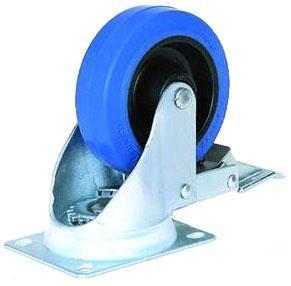 100 mm blå länkhjul med broms