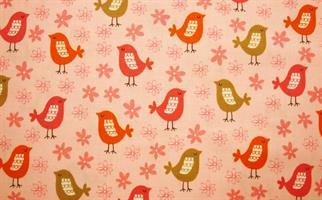 Puuvillakangas pinkki-harmaa lintu