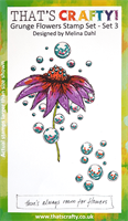 A6 clear stamp set Grunge Flowers set 3