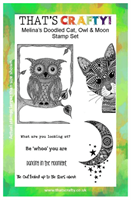 A5 clear stamp set Melina´s doodled Cat, Owl and M
