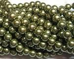 Vaxade glaspärlor olivgrön