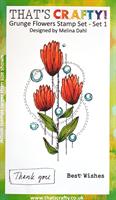 A6 clear stamp set Grunge Flowers set 1