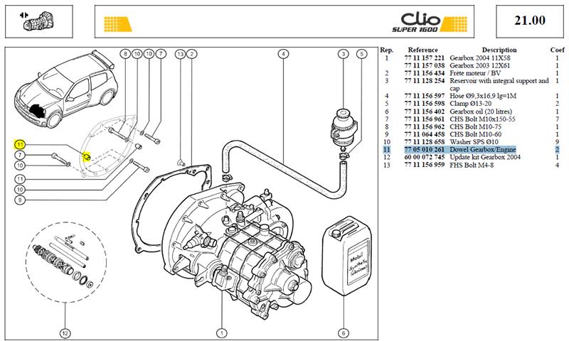 BAGUE CENTRAGE - Dowel Gearbox/Engine