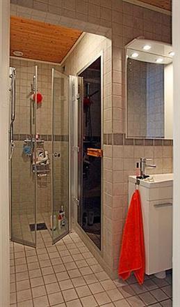 Liten dusch, toalett med bastu