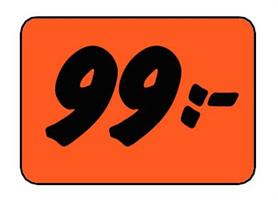 Etikett 99:- 50x30mm