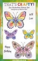 A5 Clear stamp set Zen Butterflies