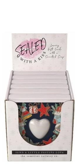 Xmas Decorations Card, Mini heart Soap in a Card  6 x 45gr
