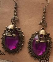 Pääkallo korvikset, violetti kivi