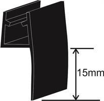 SLÄPLIST för 6mm glas 15mm, 2,4m, Svart Matt