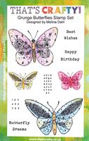 A5 Clear stamp set Grunge Butterflies