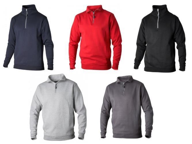 Sweatshirt kort zip ash L
