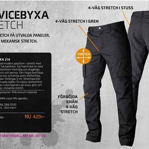 Byxa stretch 219 svart D96