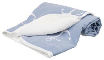 Anchor filt, 100*70cm blå/vit