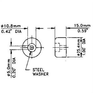 Gummifot 25x15mm med stålbricka