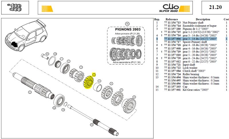 """PIGN 3EME 14 DTS SECONDAIRE 14X27 - Gear 3 - 14 dts (14/27) """"2003"""""""