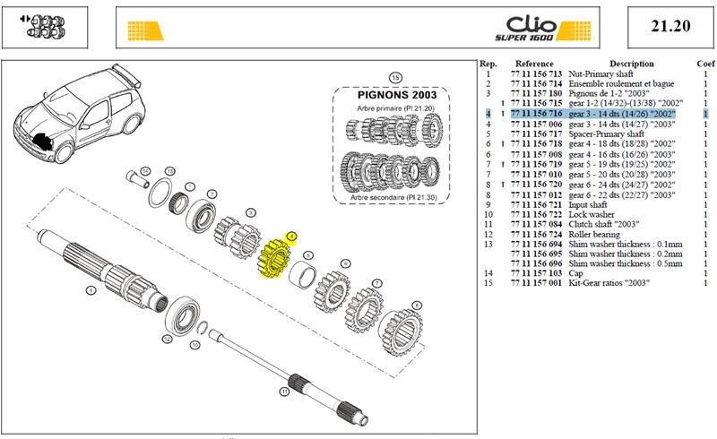 """PIGN.3-14X26D - Gear 3 - 14 dts (14/26) """"2002"""""""
