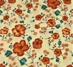 Orange blomster på beige bunn