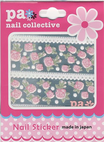 DL- Sticker pink rose & ribbon lace