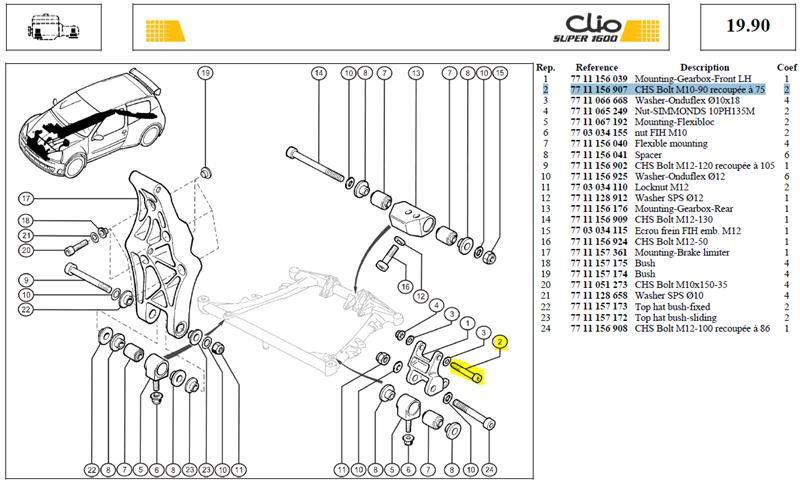 VIS C CM10X150 PRIS LG90 CL12-9 - CHS Bolt M10-90 recoupée à 75
