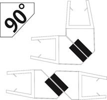Magnetlist (90°/180° glas) för 8mm glas (uni)