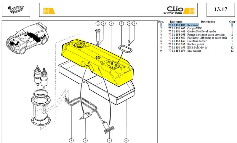 RESERVOIR ESS - Clio S1600 ATL Fuel Cell