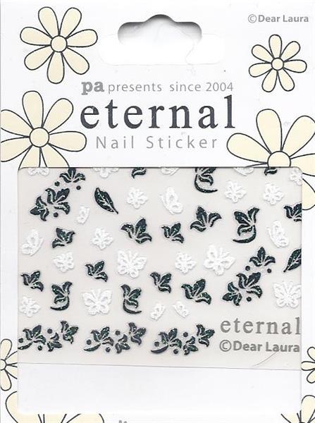 DL- Sticker Butterfly white & flower black
