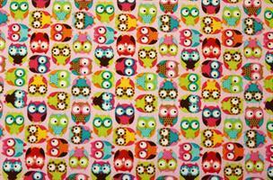 Puuvillakangas pinkki mini-pöllö 9307