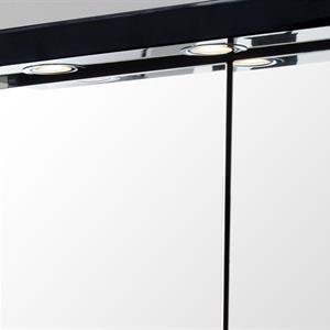 Badrumsskåp LED  60CM Svart (Blank/Piano)