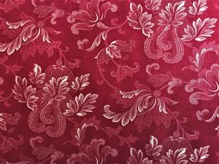Mørk rød m/ rosemalingsmønster