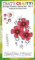 A6 clear stamp set Grunge Flowers set 2