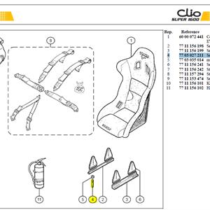 GOUJON - Seat retaining stud M8 lg:61