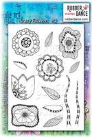 Rubber stamp set Crazy Flowers nr 1