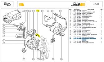 BOBINET.SUPPOR GALET TENDEUR - Mounting pin-Alternator belt