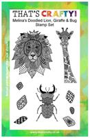 A5 clear stamp set Melina´s dooddled Lion, Giraffe