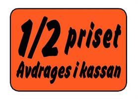 Etikett 1/2 priset Avdrages i kassan