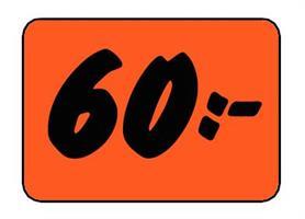 Etikett 60:- 50x30mm