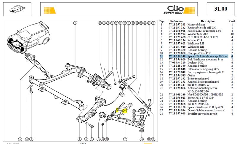 ENTRETOIS PTA DE TRIANGLE AV - Spacer-Pt A-Wishbone ép:16,5mm