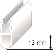 U-list för 8mm glas 13mm, Svart Matt