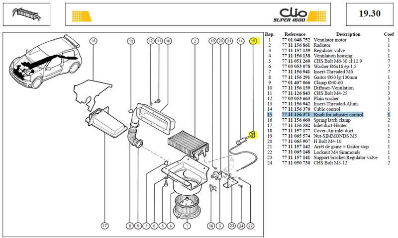 BOUTON DE CDE - Knob for adjuster control