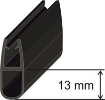 U-list för 8mm glas 13mm, Svart Matt 240cm