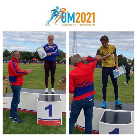 UM 2020: Prisvinnere Andrea Rooth, Lambertseter IL og Bastian Elnan Aurstad, Steinkjer Friidrett.