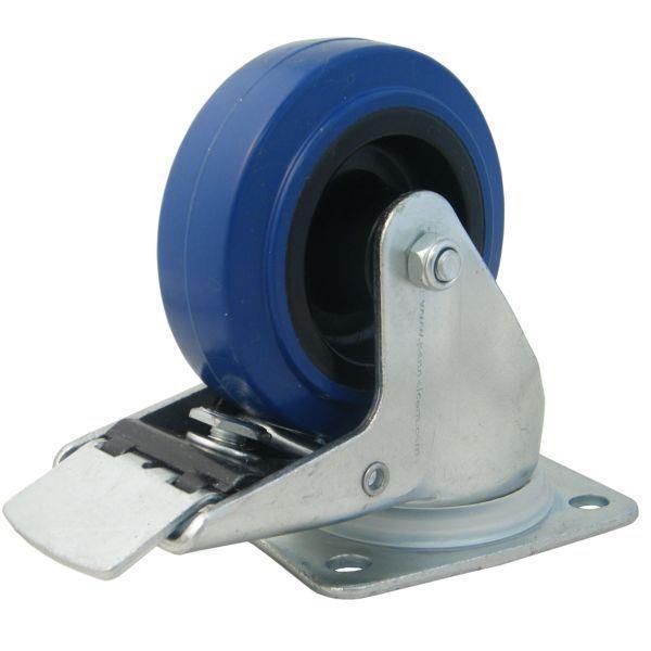 80 mm blå länkhjul med broms