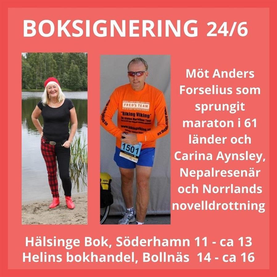 24/6 - signering på Hälsinge Bok i Söderhamn samt Helins Bokhandel i Bollnäs
