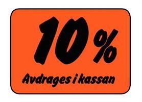 Etikett 10% Avdrages i kassan
