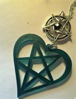 Pentagram sydän, kaulakoru