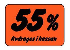 Etikett 55% Avdrages i kassan