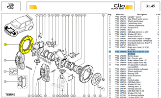 DISQUE AVD.TER  D285-EP28-RAINUR - CP3837-1002G8 Brake disc-Front RH Ø285 EP 28mm