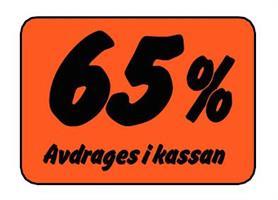 Etikett 65% Avdrages i kassan
